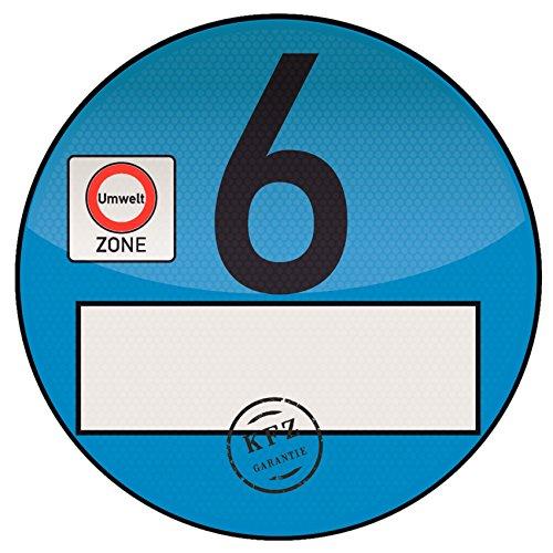 1x Haftfolie Euro 6 Plakette blau von Finest-Folia Feinstaub Umweltzone Aufkleber Spassplakette
