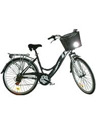 """Bicicleta Trekking Gotty JOLLI, cuadro 28"""" ALUMINIO 7005, Suspensión delantera, cambio 21 velelocidades, luces delantera y trasera, guardabarros, cesta, cubrecadenas, portaequipajes."""
