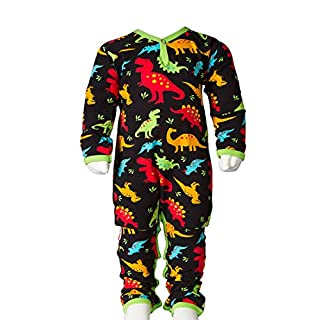 JNY Colourful Kids - Baby Boy Overall Bodysuit DINO in black - Organic Cotton - Black, 6 months