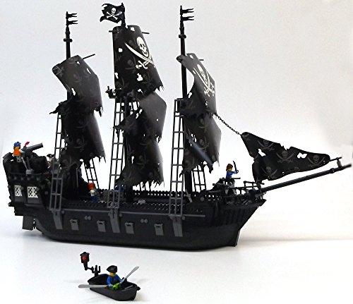 Preisvergleich Produktbild Black Pearl Bausteine Schiff, 75 cm lang, knapp 1200 Teile, 3-Master Segelschiff mit 6 Piraten und funktionierenden Kanonen!