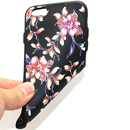 iphone 6S plus Silicone Cover, Custodia iphone 6 plus 5.5 Morbido, iphone 6S plus Nera Cover, Ekakashop Varnish Clear Coating Sollievo Painting Fiori Colorato Pattern 3d Gel Silicone Gomma Soft TPU Ra Phalaenopsis