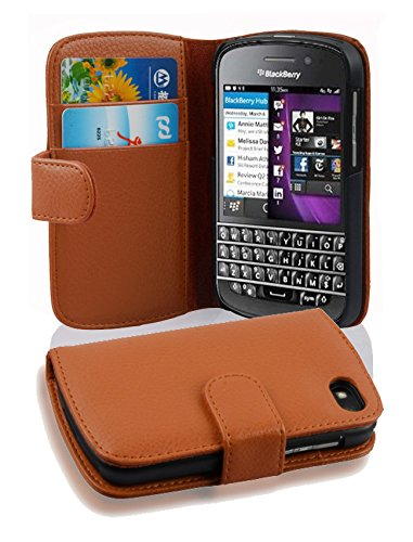 Cadorabo Hülle für BlackBerry Q10 - Hülle in Cognac BRAUN - Handyhülle mit Kartenfach aus struktriertem Kunstleder - Case Cover Schutzhülle Etui Tasche Book Klapp Style