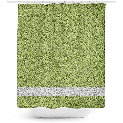 Fútbol Deportes Pitch–Cortina de ducha (Exclusivo en 4tamaños para cualquier cuarto de baño, Verde, 36x72 Stall