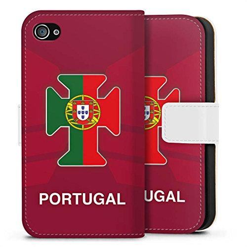 Apple iPhone X Silikon Hülle Case Schutzhülle Portugal EM Trikot Fußball Europameisterschaft Sideflip Tasche weiß