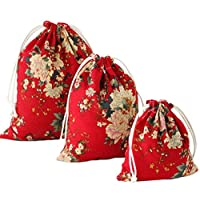 Hacoly 3Pcs Drawstring Backpack Cotton Bag Gym Tote Sack School Kids Boys Girls Rucksack For Travel Storage Pouch Makeup Storage Bag(Peony)