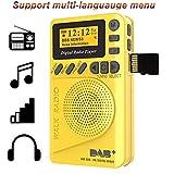 Radio de Poche FM Numérique, Dab FM Radio avec récepteur numérique, Batterie Rechargeable Radio Portable avec Lecteur MP3...