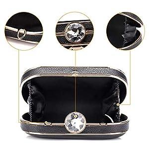 51z21h5DGyL. SS300  - BAIGIO Clutch Bolso Fiesta Negro Piel PU, Bolso de Noche Mujer Cartera de Mano Bolso de Embrague con Cadena para Boda…