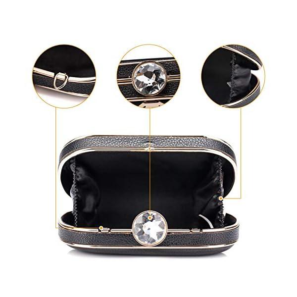 51z21h5DGyL. SS600  - BAIGIO Clutch Bolso Fiesta Negro Piel PU, Bolso de Noche Mujer Cartera de Mano Bolso de Embrague con Cadena para Boda…