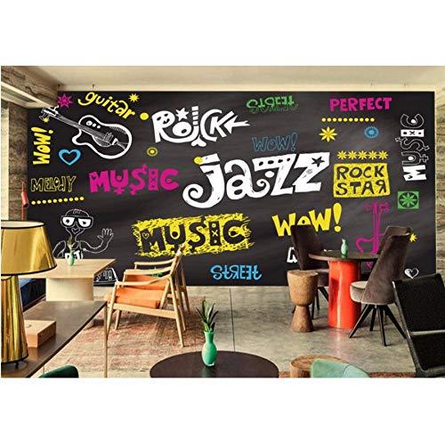 Pmhhc Kundenspezifische Graffiti-Tapete Handgemalte Musik Element Wandbild Für Bar Ktv Wohnzimmer Hintergrundbild Wandbild-200X140Cm