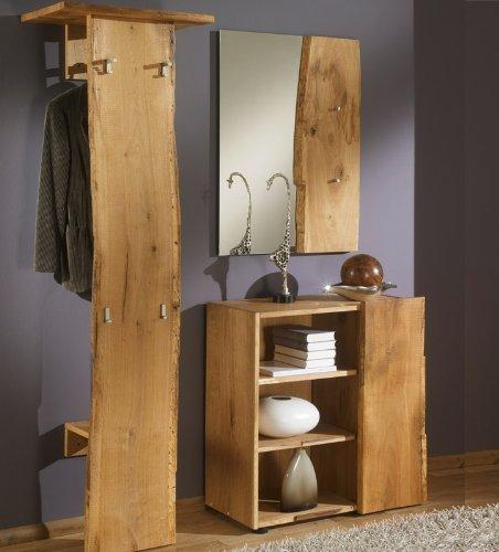 garderobe baumstamm holz Unbekannt 3-tlg Garderobenset Eiche Massiv-Holz natur Garderobe Flurmöbel Spiegel Kommode
