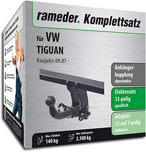 fahrradtraeger tiguan Rameder Komplettsatz, Anhängerkupplung abnehmbar + 13pol Elektrik für VW TIGUAN (143389-06397-1)
