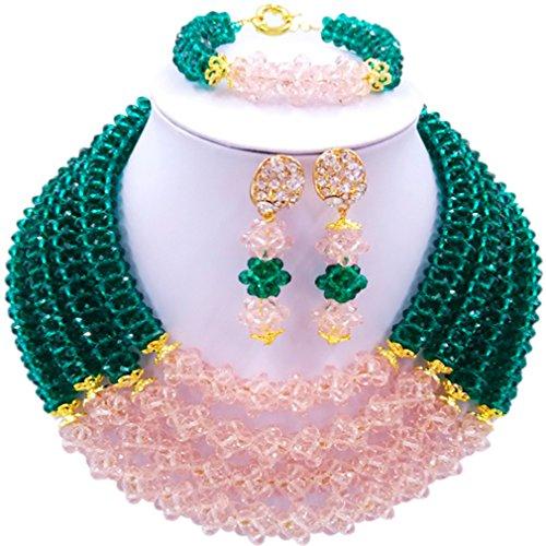 Laanc Naturel Cristal Bijoux Définit 4rows 45,7cm Collier du Nigeria Mariage africain Bracelet de perles Boucles d'oreilles Plum and Green