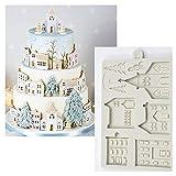 Cake Stencils Kuchen Formen, DIY Weihnachten Lebkuchen Haus Silikon Form Fondant Form Kuchen Dekorieren Werkzeuge Schokolade, Gumpaste, Küche Gadgets,1Pcs