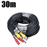 FLOUREON Video Strom Kabel BNC Kabel 30M DC Power für DVR Videoüberwachung Überwachungskamera Sicherheitssystem