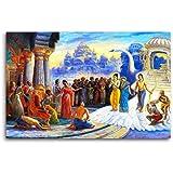 Tamatina Canvas Paintings - Lord Ram & Sita Return To Ayodhya - Lord Ram Canvas Paintings - Sita Ram Painitng - Modern Art Paintings - Paintings For Home Décor - Paintings For Drawing Room - Paintings For Bedroom - Paintings For Living Room - R