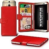Aventus (Rot) HTC Desire 620G Dual Sim Premium-PU-Leder Universal Hülle Spring Clamp-Mappen-Kasten mit Kamera Slide, Karten-Slot-Halter und Banknoten Taschen