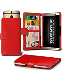 Aventus (Red) Vodafone Smart Platinum 7 Universal Case Etui Housse Wallet Spring Clamp Premium Pu Cuir Avec Caméra Slide, Titulaire De La Carte De La Fente Et Billets Pocket