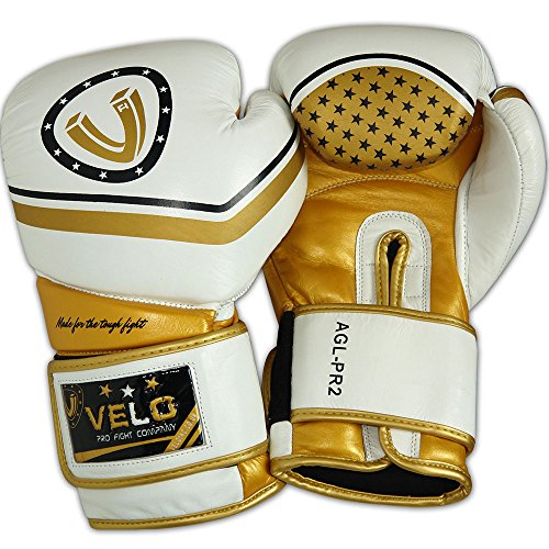 VELO Boxing Gloves Muay Thai Training Genuine Cow Hide Leather Sparring  Punching Bag Mitts kickboxing Fighting 4ea169d8454