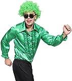 Groovy 70s 1970s Disco Night Metallic Ruffle Shirt Dance Fancy Dress Stag Party Pimp Shirt Costume