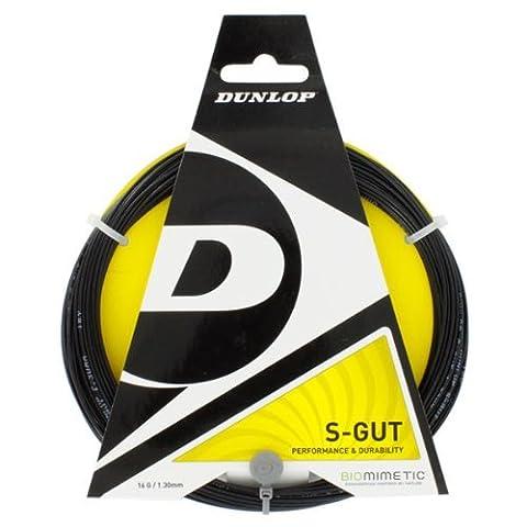 Dunlop S-Gut 1.30mm Tennis string set, adulte mixte, S-gut Armeggio 12.2 Metri, Calibro 1.30 Nero, noir