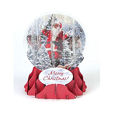 Pop Up 3D Weihnachten Schneekugel Grußkarte PopShot Weihnachtsmann im Wald 9x13cm