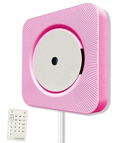 CD-Player Bluetooth Lautsprecher,KINGCOO Tragbar Wandmontage Home Audio Eingebauter HiFi Lautsprecher mit Fernbedienung FM Radio Kabel Pulling-Switch USB MP3 Player (Rosa)