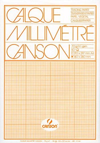 Canson Papel vegetal Canson milimetrado - Bloc de 50 hojas, A4-21 x 29.7 cm