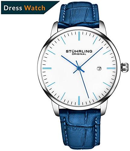 Stuhrling Original Herren-Armbanduhr aus Kalbsleder – Kleid + lässiges Design – Analoges Zifferblatt mit Datum, 3997Z Uhren für Herren Kollektion