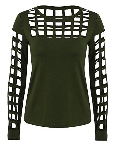 Femme Chemises Manche Longue Shirt Club Creux Manches Blouse T-shirts Armée Verte