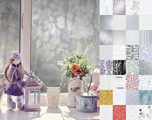 d-c-fix Fensterfolie Sichtschutzfolie Milchglasfolie statisch haftend Folie für Fenster mit Sonnenschutz bunt milchig satiniert Blumen Streifen Ranken verschiedene Motive & Maße inkl. Rohr-Trading.SURFACES Filzrakel (Ice Cube, blau, 150 x 67,5cm)