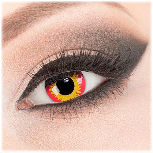 1 Paar deckend orange - gelb - rot Crazy Fun Wild Fire Kontaktlinsen in Flammenoptik ohne Stärke + Behälter von Evil Lens. Perfekt zu Halloween, Karneval, Fasching, Teufel, Fasnacht oder Cosplay, Manga und Zombie Kostüme. (Wilde Kontaktlinsen)