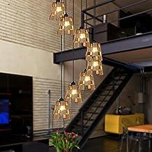 Amos Escalera de Caracol de Doble Nivel Retro Villa Escalera de Caracol Hierro Forjado lámpara de