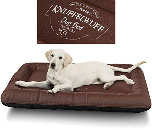 Knuffelwuff 13969-006 Wasserfestes Hundebett Avery mit Vintage Aufdruck, XXL, 120 x 85 cm, braun