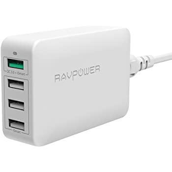 Quick Charger, RAVPower 4-Port Fast Charger with Quick Charge 3.0 for Galaxy S8 and More Smartphones -White