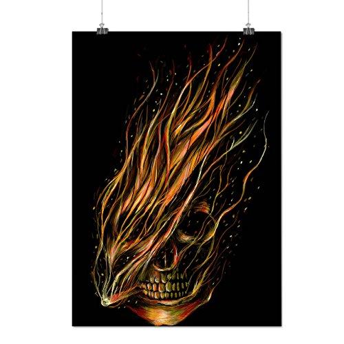 Feuer Horror Motorradfahrer Schädel schaurig Maske Mattes/Glänzende Plakat A4 (30cm x 21cm) | Wellcoda