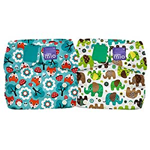 Bambino Mio miosolo all in one nappy, Woodland Fox and Elephant Parade (pack of 2)