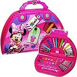 Unbekannt 51 TLG. Set - Stiftekoffer - Disney - Minnie Mouse - Malkoffer mit Stiften + Filzstifte + Buntstifte + Wasserfarben + Öl Pastellkreide + Wachsmal Farben + Pin..