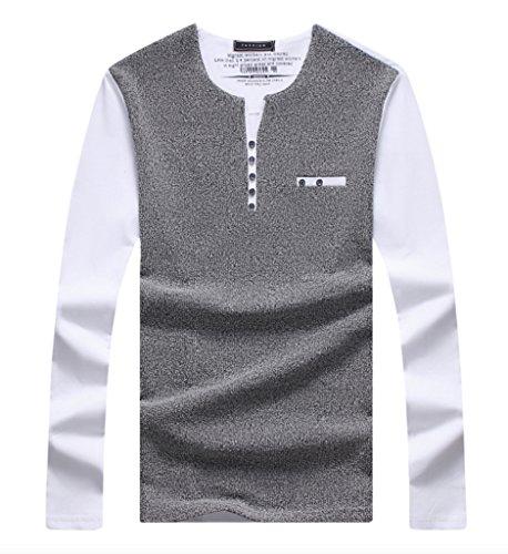 WSLCN Herren Schick Langarmshirt Polo Shirt Weiß