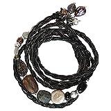 NAKAMOL Wickelarmband Schwarz mit echten Perlen