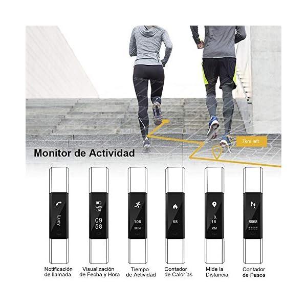 Rayfit Pulsera Actividad Inteligente Reloj Deportivo Fitness Tracker Monitor de Sueño Contador de Calorías Reloj Cuenta Pasos Ejercicio Salud Podómetro Pulsera Inteligente para Mujer Hombre Niños 3