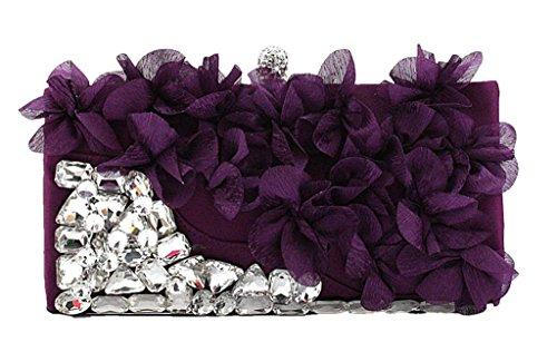 Damen Perlen Floral Party Handtasche Hochzeit Clutch Portemonnaie, Rot - rot - Größe: violett