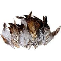 Jooks - Plumas de Gallo Naturales, Ideales para Disfraces, Sombreros, decoración del hogar, 50 Unidades