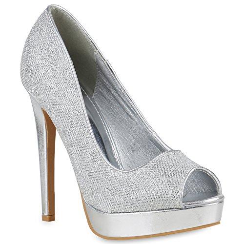 Damen Schuhe Plateau Pumps Glitzer Peeptoes Stiletto Party High Heels 154302 Silber 38 Flandell