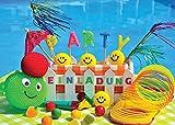 12 Einladungskarten zum Kindergeburtstag oder Schwimmbad-Party / Pool-Party / schöne und bunte Einladungen