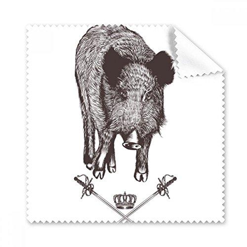 Wildschwein Sword Krone Tier Schwarz Weiß Barock Style Brille Reinigungstuch Reinigungstuch Geschenk Handy-Display von 5x