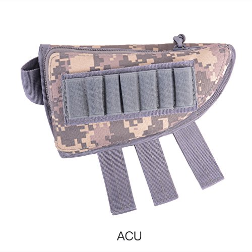 VINILO Tactical 20Jahren Pouch Shotgun Shell Halter Munition Pouch Cheek Pad Verstellbar Gewehr Cheek Rest Tasche Halter und Reißverschluss Utility Pouch, ACU (Tactical Shotgun Munition)