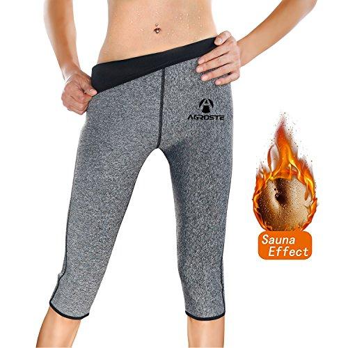 AGROSTE Damen Sauna-Hose aus Neopren mit Fettverbrennung, Hot Thermo Schweiß Sauna Capris Leggings Shapers für Gewichtsverlust, Damen, grau, Small