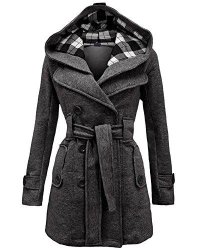 Mantel Jacke Trenchcoat Damen Winterjacke Outwear mit Kapuze Gris Foncé 2XL