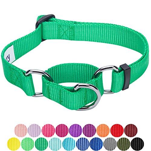 Blueberry Pet Sicherheitstraining Martingale Hundehalsband Klassisch Einfarbig 2 cm M Basic Polyester Nylon Hundehalsband Langlebig - Smaragd (Martingal Grün)