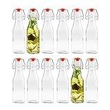 12x Glas Flasche 250 ml mit Bügelverschluss, eckig, klar, 5,5 x 5,5 x 20 cm (LxBxH)